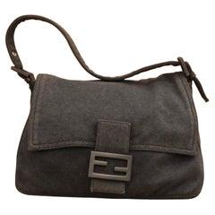 1990s FENDI Charcoal Gray Jersey Mama Baguette Handbag