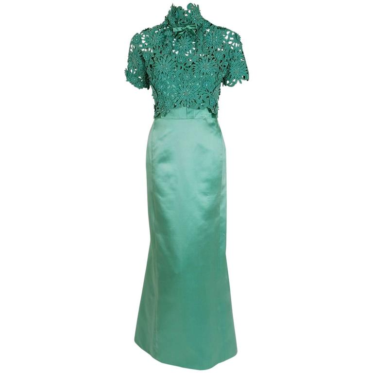 1962 Nina Ricci Haute-Couture Seafoam Blue Green Beaded Lace & Satin Formal Gown For Sale