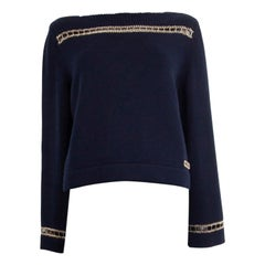 CHANEL navy blue cashmere 2020 CHAIN DETAIL Boatneck Sweater 38 S
