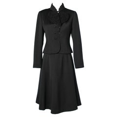 Black skirt-suit in wool, cachemire and astrakan collar Chloé