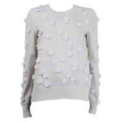 CHANEL white cashmere cotton 2018 FLOWER EMBELLISHED Sweater 36 XS
