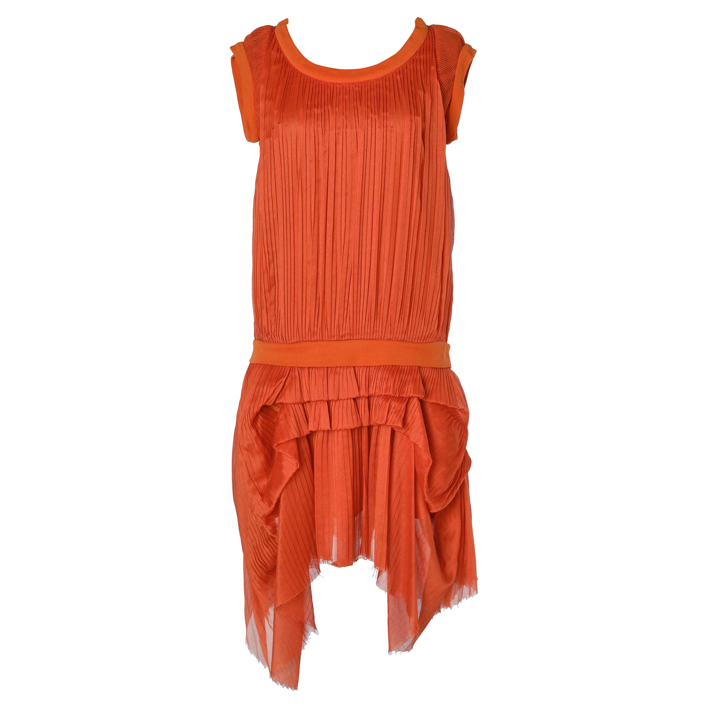 Orange pleated dress Chloé