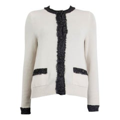 CHANEL white & grey cashmere 2019 Cardigan Sweater 38 S