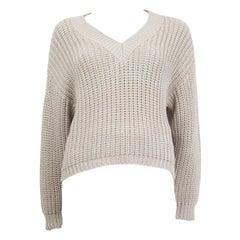 BRUNELLO CUCINELLI beige cotton LUREX V-Neck Sweater XS