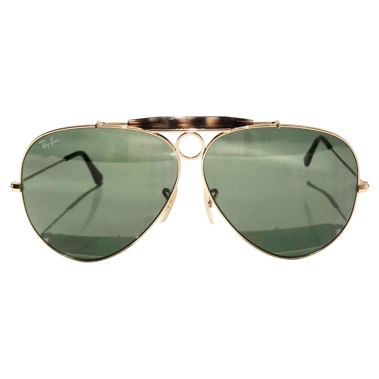 Ray Ban Aviator Shooter Gold Frame Sunglasses