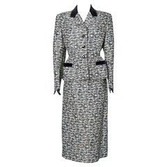 1950's silk jacquard and velvet skirt suit Jacques Fath Paris