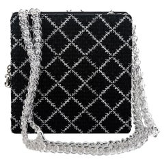 New Chanel Black Tweed Clear Lucite Bag