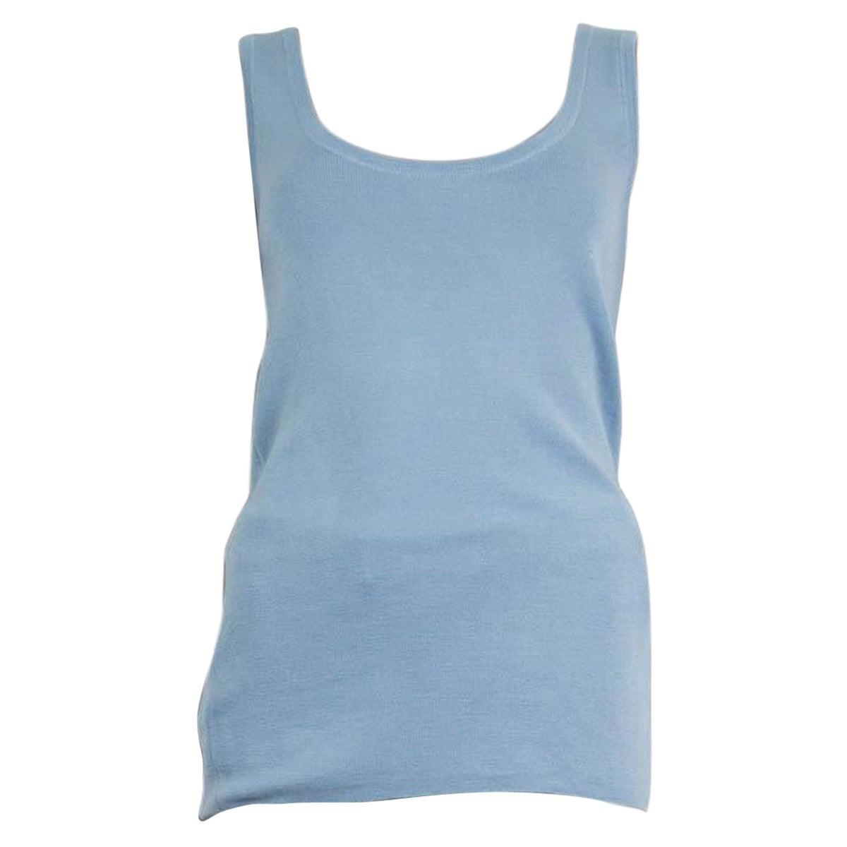 PRADA light blue cashmere silk Sleeveless Sweater 48 XXL