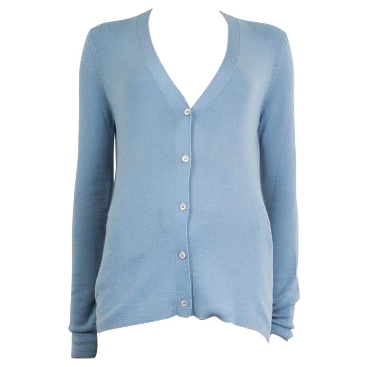 PRADA light blue cashmere silk V-Neck Cardigan Sweater 48 XXL