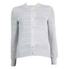 HERMES white viscose POINTELLE LOGO Cardigan Sweater 34 XXS