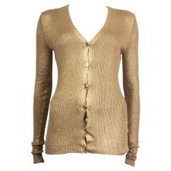 STELLA MCCARTNEY metallic gold cotton RIBBED Cardigan Sweater 40 S