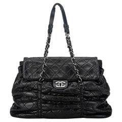 Chanel Black Rouched Large Tote Bag