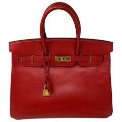 Hermes Birkin 35 Rouge Casaque Bag