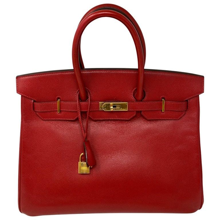 Hermes Birkin 35 Rouge Casaque Bag  For Sale