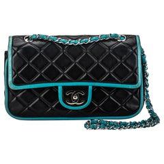 Chanel Black Turquoise Double Flap Bag