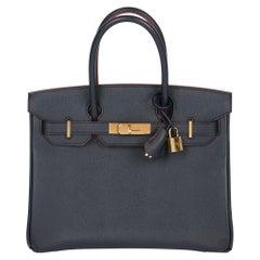 Hermès Bleu Indigo & Rouge Contour Epsom Leather Birkin 30cm Retourne