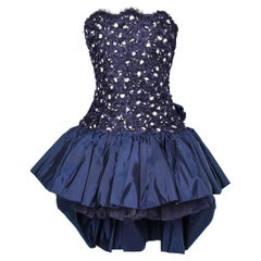 80's bustier dress in lace, sequin and taffetas Victor Costa