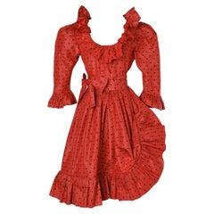 Red and black polka-dots dress Circa 1980 Saint Laurent Rive Gauche