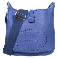 Hermes Bleu Encre Taurillon Clemence Leather Evelyne III 29 PM Messenger Bag