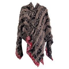 ETRO taupe cashmere wool PAISLEY FRINGE PONCHO Coat Jacket One Size
