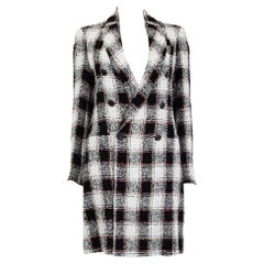 ETRO black & white linen TWEED CHECK Double-Breasted Coat Jacket 40 S