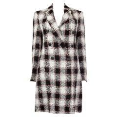 ETRO black & white linen TWEED CHECK Double-Breasted Coat Jacket 42 M
