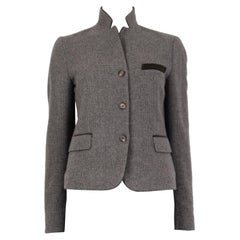 ETRO taupe grey wool VELVET COLLAR TWEED Blazer Jacket 42 M