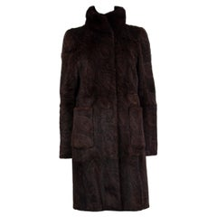 ETRO dark brown PAISLEY RABBIT FUR Coat Jacket 42 M