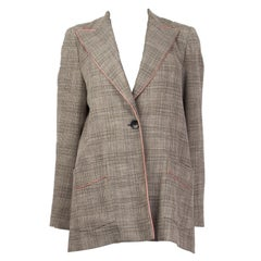 ETRO black & white wool PLAID TWEED Blazer Jacket 46 XL