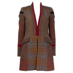 ETRO brown grey wool PATCHWORK TWEED Coat Jacket 40 S