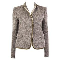 ETRO black white green wool VELVET COLLAR TWEED Blazer Jacket 44 L