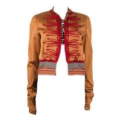 ETRO yellow red silk STRIPED Jacket 42 M