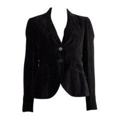 ETRO black VELVET PEAK COLLAR Jacket S