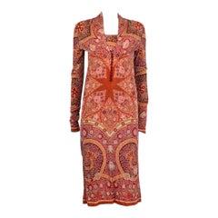ETRO orange wool PRINTED Long Sleeve MIDI KNIT Shift Dress 42 M
