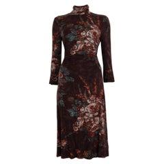 ETRO maroon brown FLORAL VELVET TURTLENECK Dress 40 S