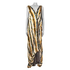 ETRO white yellow green silk STRIPED WIDE SLEEVELESS MAXI Dress 42 M