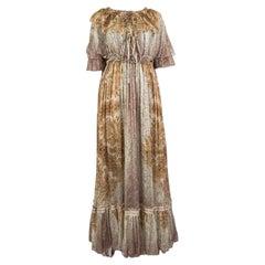 ETRO beige ochre silk chiffon 2016 PAISLEY MAXI Dress 40 S