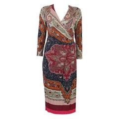 ETRO multicolor viscose PAISLEY 3/4 SLEEVE WRAP Dress 44 L