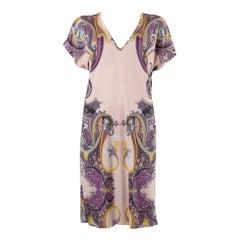 ETRO pink purple PAISLEY CAP SLEEVE Dress 44 L
