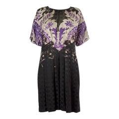 ETRO forest green purple silk wool SHORT SLEEVE Dress 46 XL
