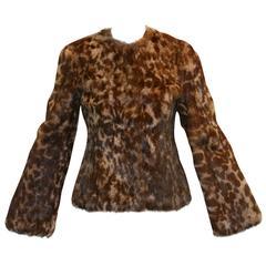 Nwt $12k Fall 2007 Dolce & Gabbana Leopard Print Rabbit Fur Jacket XS