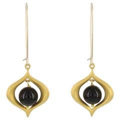 Kerry Macbride Gilded Bronze and Black Onyx Drop Earrings