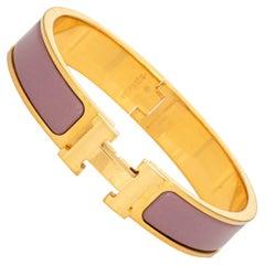 Hermes Clic Clac Bracelet 17cm PM Narrow Purple Mauve Yellow Gold Tone