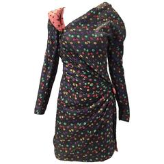 VIntags GIVENCHY Haute Couture Black Silk Dress with Multi Color Polkadot Dress