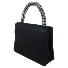Neiman Marcus Black Satin Evening Handbag With Rhinestone Handle