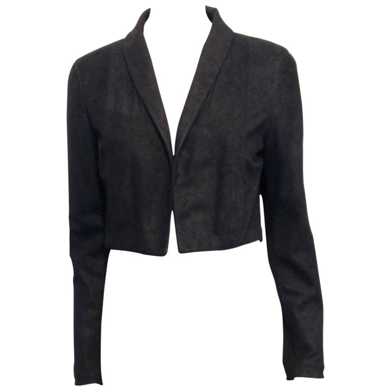 The Row Black Cropped Nubuck Jacket 1