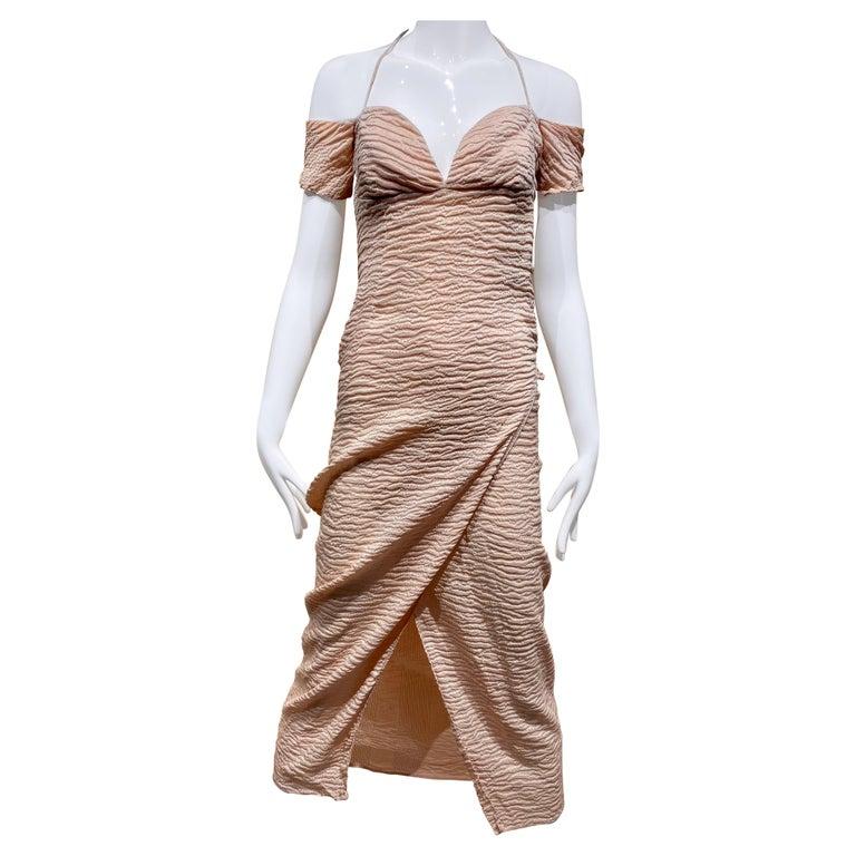 90s Romeo Gigli  Off shoulder Crinkle Crepe Dress