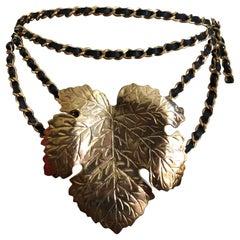 Vintage Chanel Fig Leaf Belt Spring 1991 Leather Chain Link Karl Lagerfeld