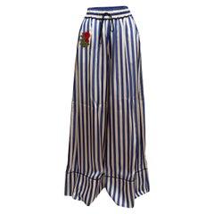 Off-White White & Blue Pinstripe Wide-Leg Pants