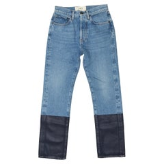 Ports 1961 Light Blue & Navy Waxed Hem Jeans